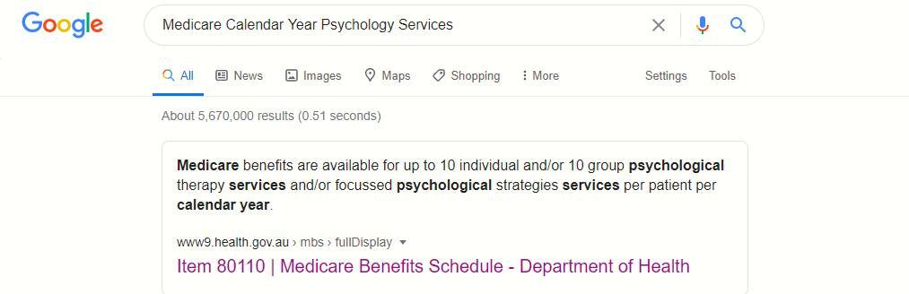 Medicare   Upwey Psychology